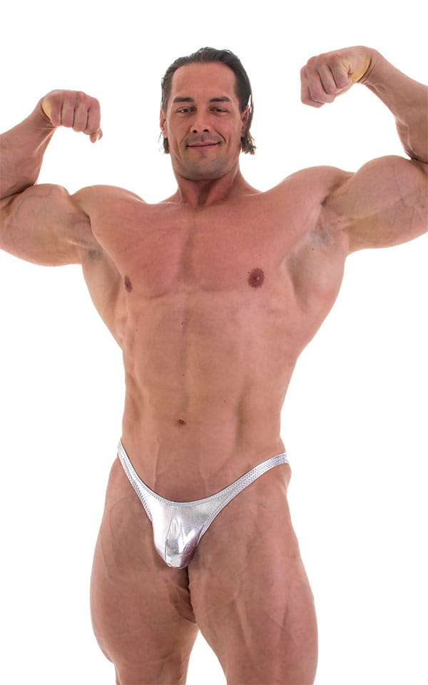 Fitted Pouch - Puckered Back - Posing Suit in Metallic Liquid Chrome 1