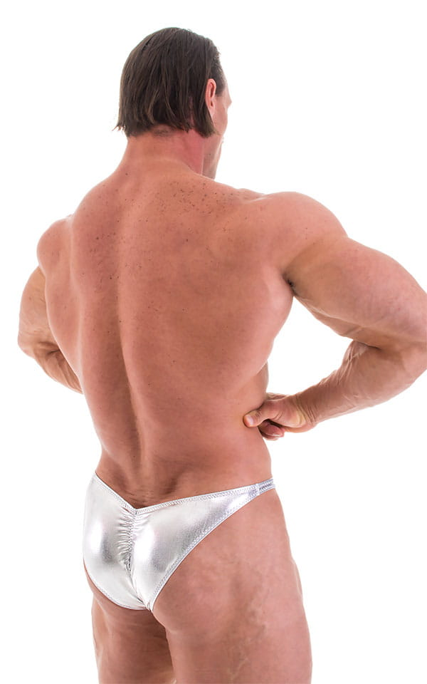 Posing Suit - Fitted Pouch - Puckered Back in Metallic Chrome Silver 3