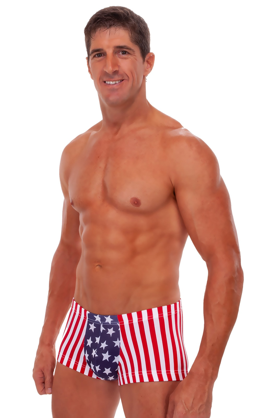 Square Cut - Fitted - Watersports Swim Trunks in Stars and Stripes 1
