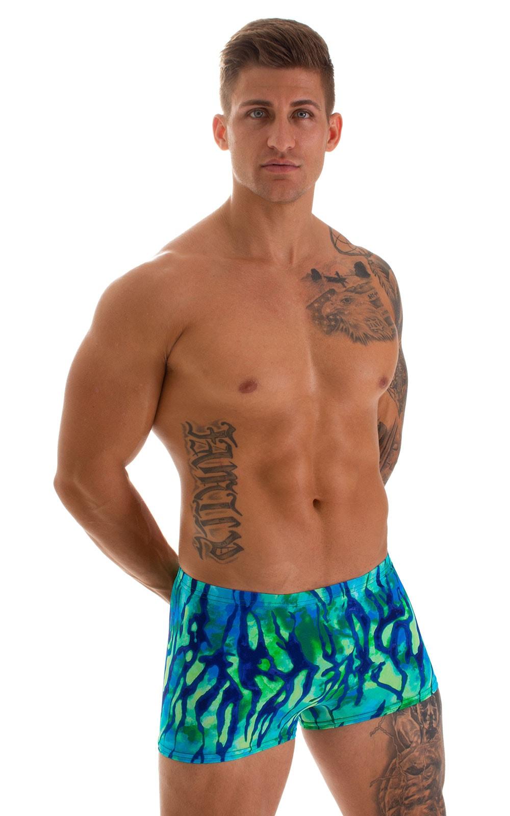 Square Cut Seamless Swim Trunks in Beach Tiger Blue-Green 1