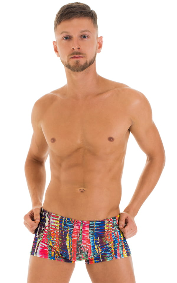 Square Cut Seamless Swim Trunks in Tan Through Frequency 1