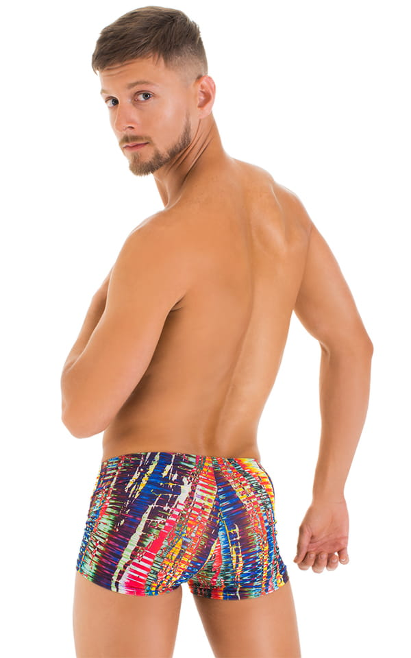 Square Cut Seamless Swim Trunks in Tan Through Frequency 3