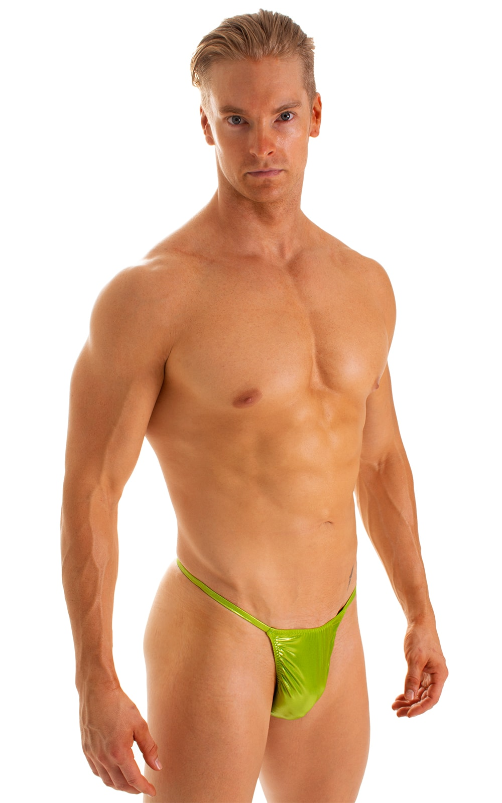 Smooth Pouch Skinny Sides Swim Thong in Ice Karma Lemon-Lime 1