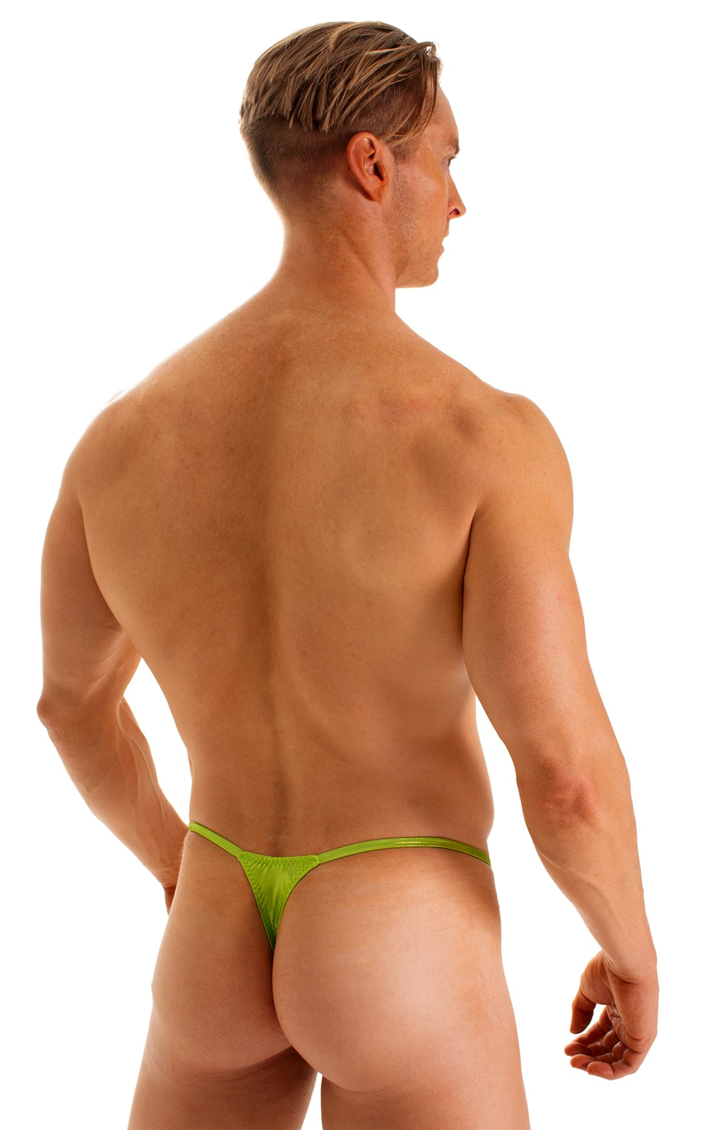 Smooth Pouch Skinny Sides Swim Thong in Ice Karma Lemon-Lime 2