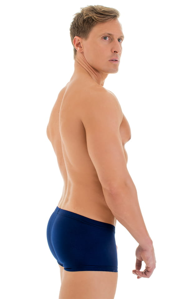 Extreme Low Square Cut Swim Trunks in Navy Blue 3