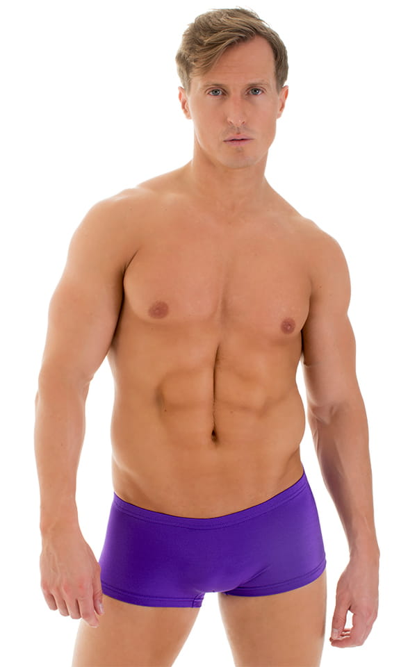Extreme Low Square Cut Swim Trunks in Purple 1