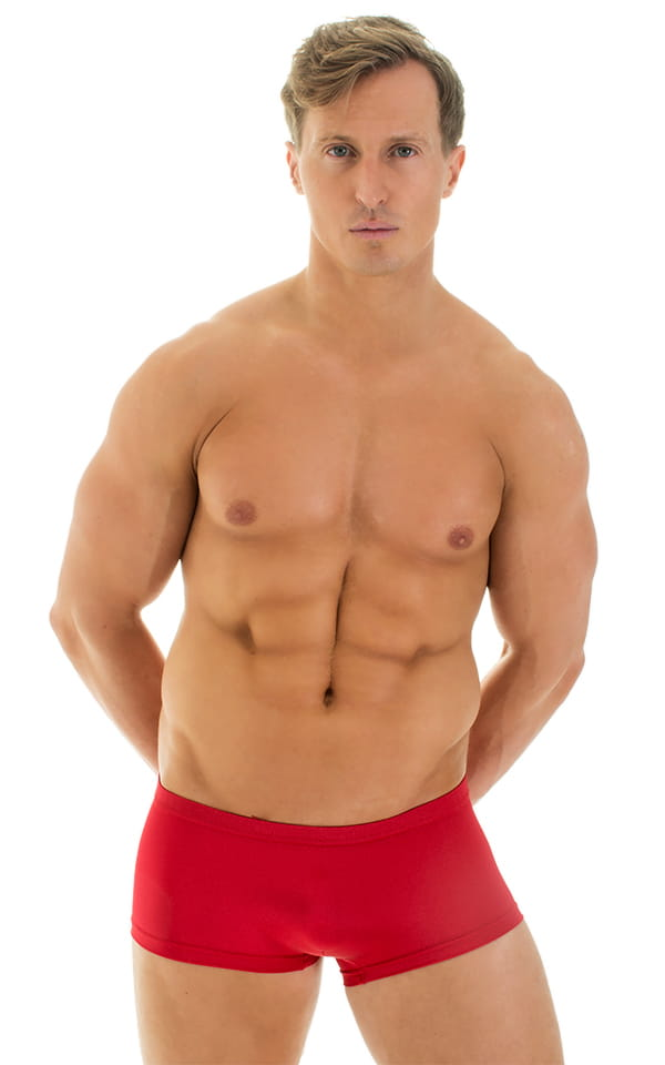 Extreme Low Square Cut Swim Trunks in Red 1