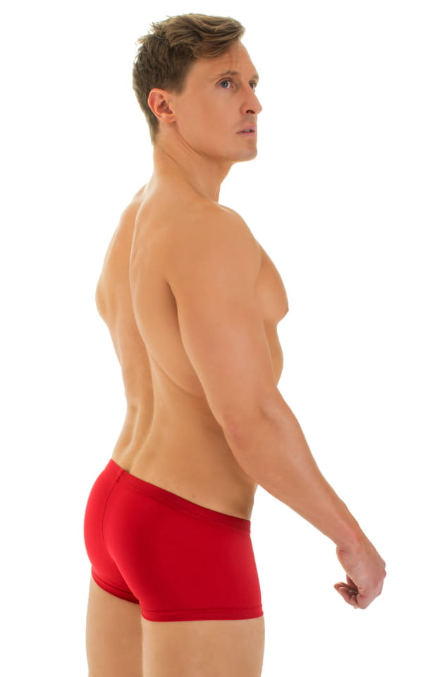 Extreme Low Square Cut Swim Trunks in Red 3