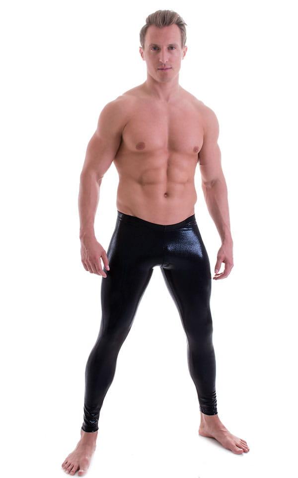 Mens Low Rise Leggings Tights in Metallic Mystique Black 1