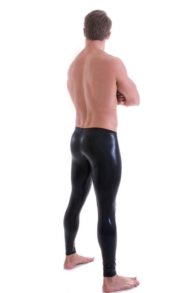 Mens Low Rise Leggings Tights in Metallic Mystique Black 3