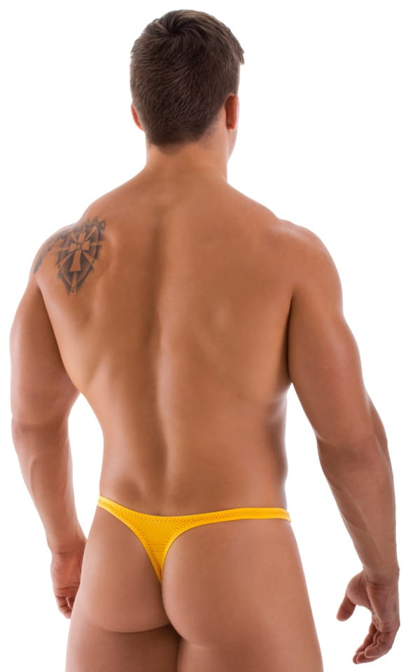 T Back Thong Swimsuit in Semi Sheer ThinSkinz Sunset Yellow 3