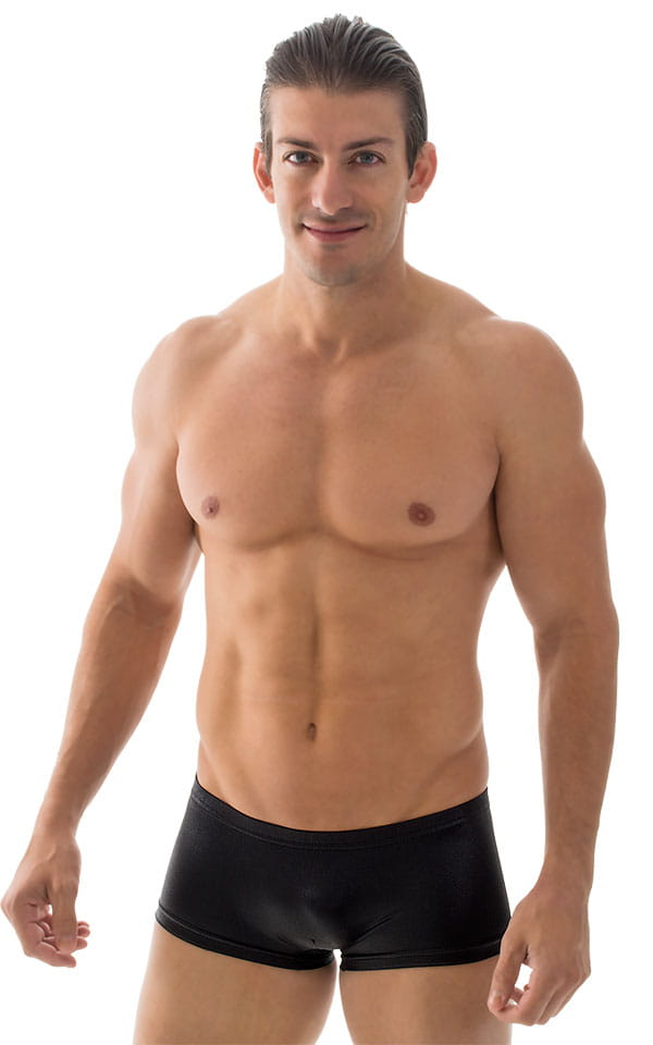 Extreme Low Square Cut Swim Trunks in Wet Look Black 1