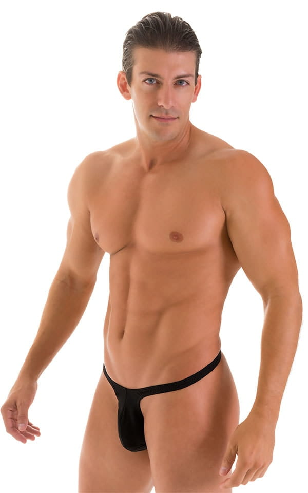 T Back Thong Swimsuit - Bravura Pouch in  Black 4
