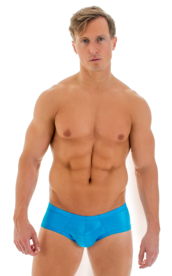 Pouch Enhanced Micro Square Cut Swim Trunks in Turquoise 1