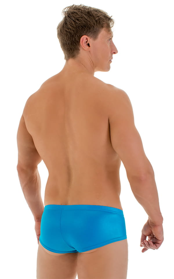 Pouch Enhanced Micro Square Cut Swim Trunks in Turquoise 3