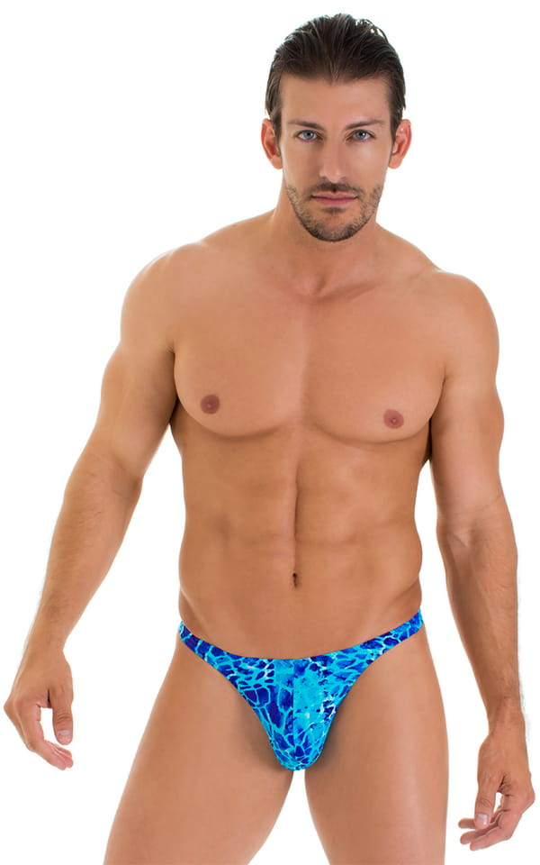 T Back Thong Swimsuit in New World Blue 1