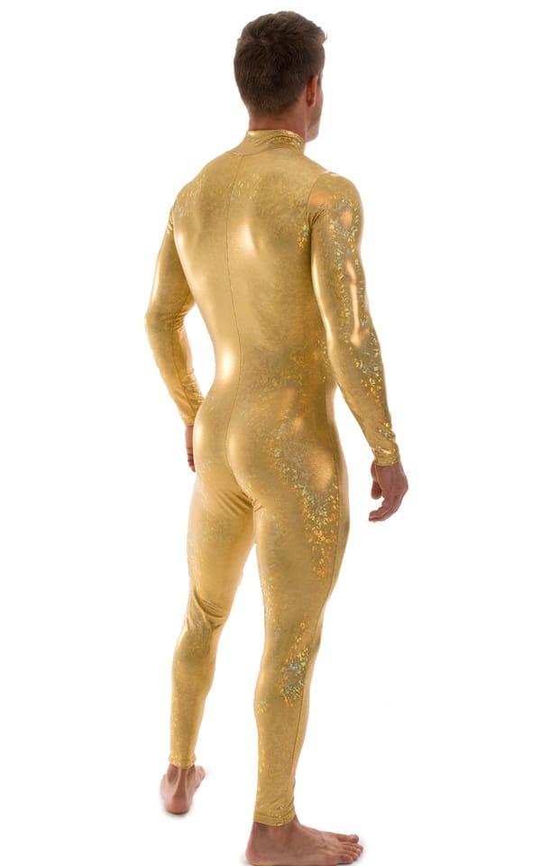 Full Bodysuit Suit for men in Gold Holographic Shattered Glass 3