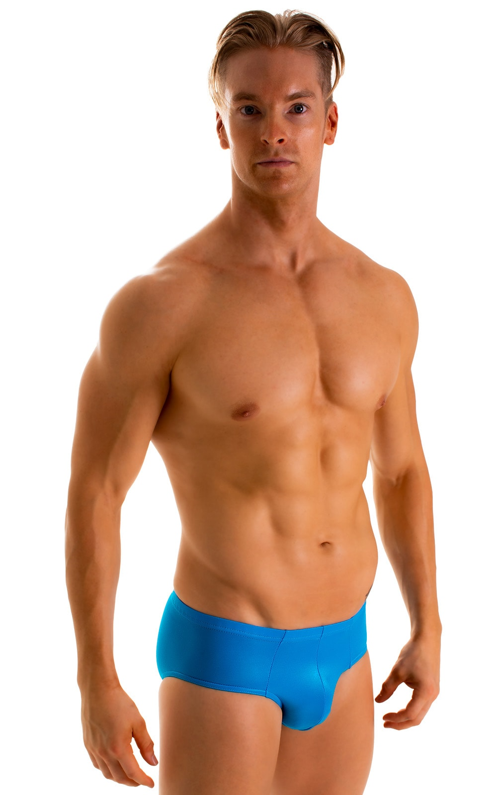 Pouch Brief Swimsuit in Wet Look Turquoise 1