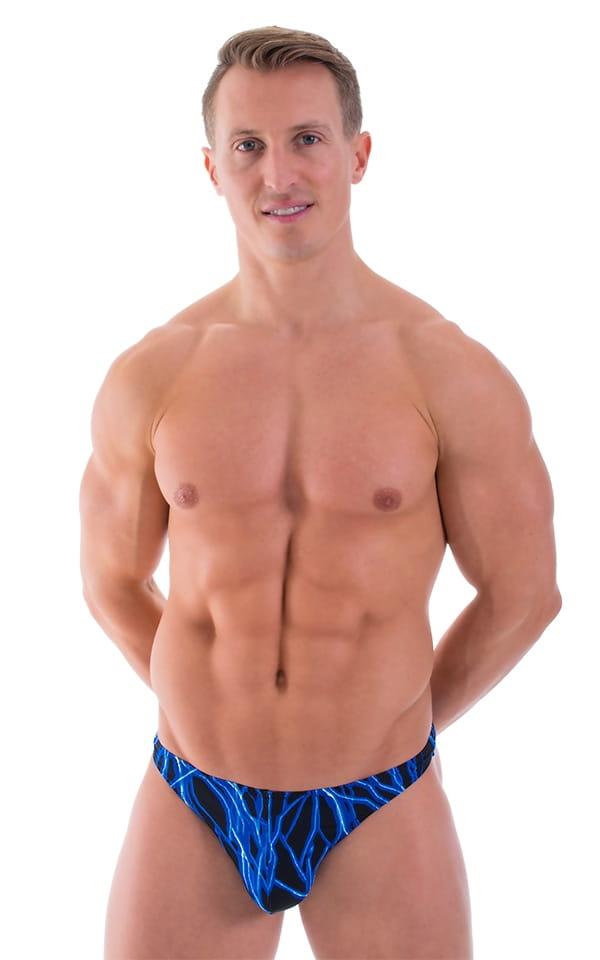 Comfort Pouch - Bulge Enhancing - Half Back Bikini in Laser Blue Lightning 1