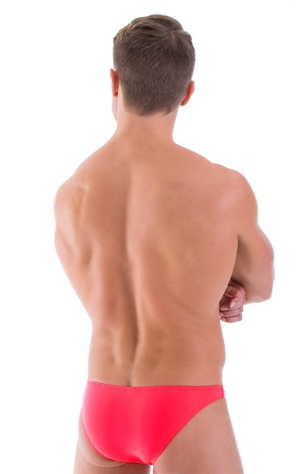 Comfort Pouch - Bulge Enhancing - Half Back Bikini in ThinSKINZ Semi Sheer Neon Coral 3