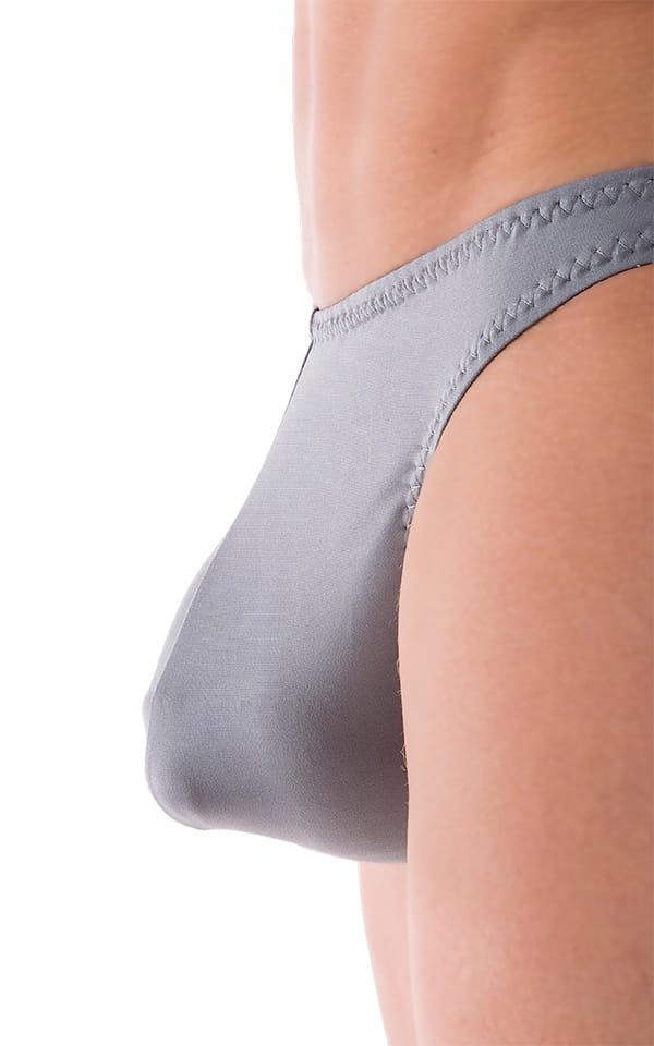 Comfort Pouch - Bulge Enhancing - Half Back Bikini in ThinSKINZ Metal Gray 4
