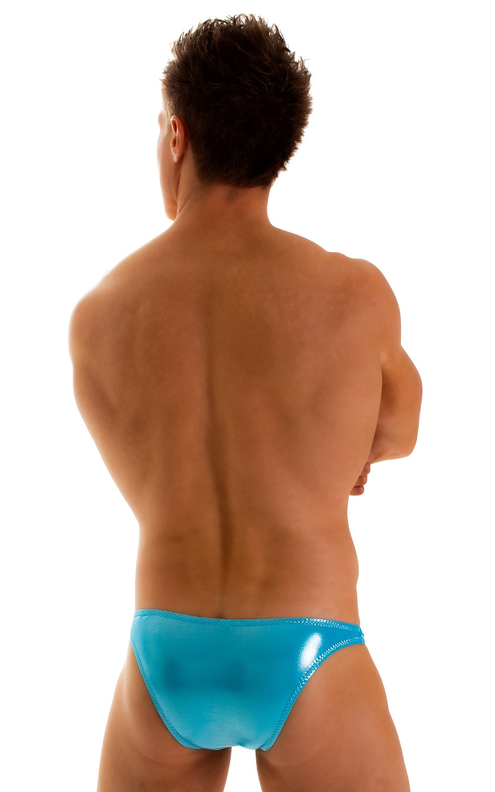 Enhancing Pouch Swim Brief in Ice Karma Turquoise Shimmer 2
