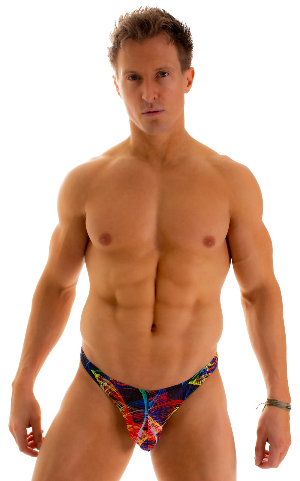 Enhancing Pouch Swim Brief in Tan Through Rave-Up 1