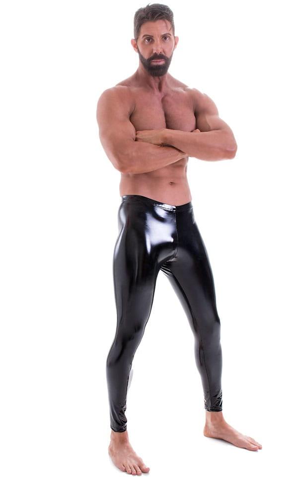 Mens Leggings Tights in Gloss Black Stretch Vinyl 1