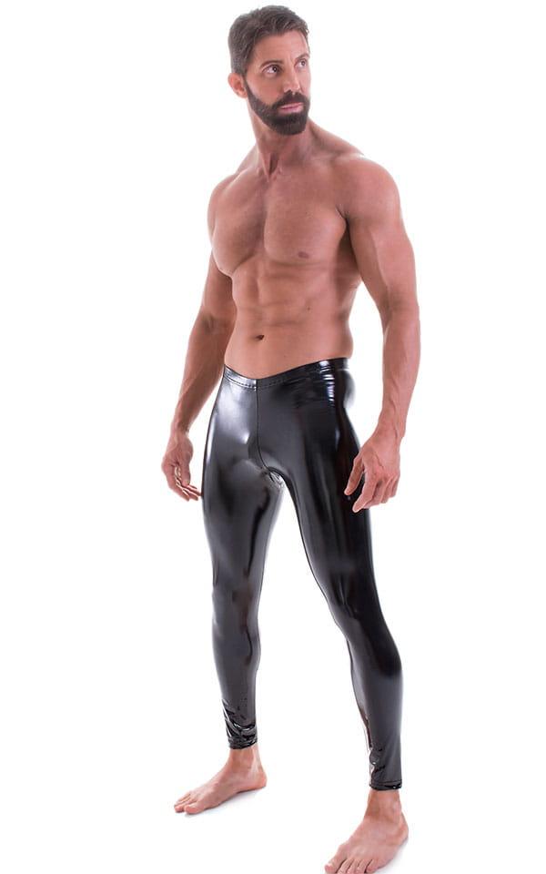 Mens Leggings Tights in Gloss Black Stretch Vinyl 4