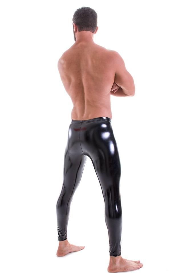 Mens Leggings Tights in Gloss Black Stretch Vinyl 3