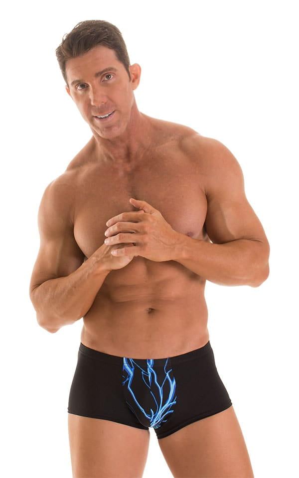 Fitted Pouch - Boxer - Swim Trunks in Laser Blue Lightning & Black 1