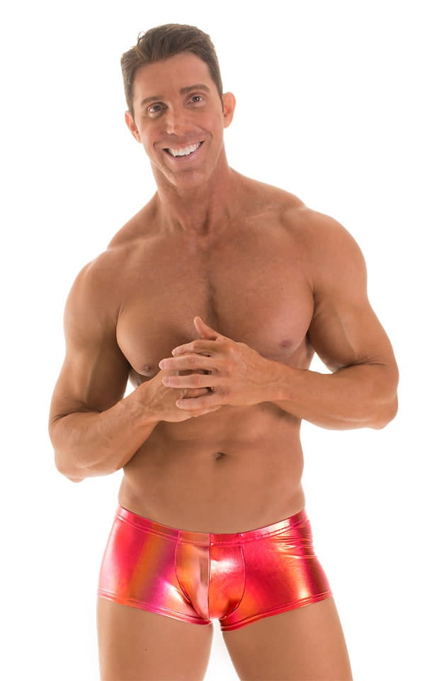 Fitted Pouch - Boxer - Swim Trunks in Metallic Sunset Ombre 1