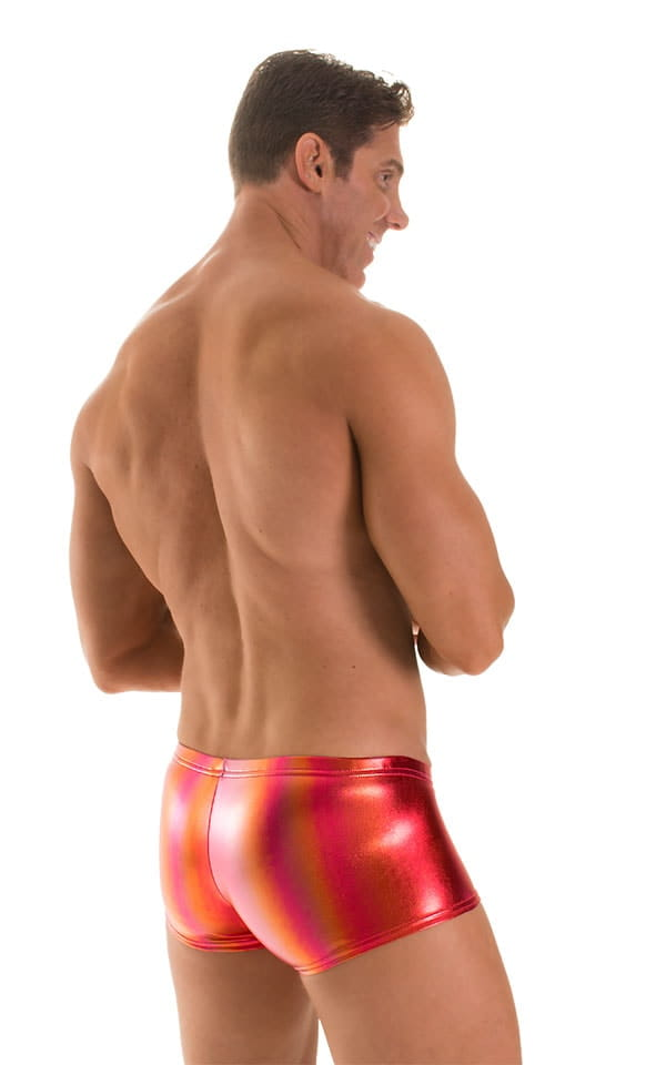 Fitted Pouch - Boxer - Swim Trunks in Metallic Sunset Ombre 2