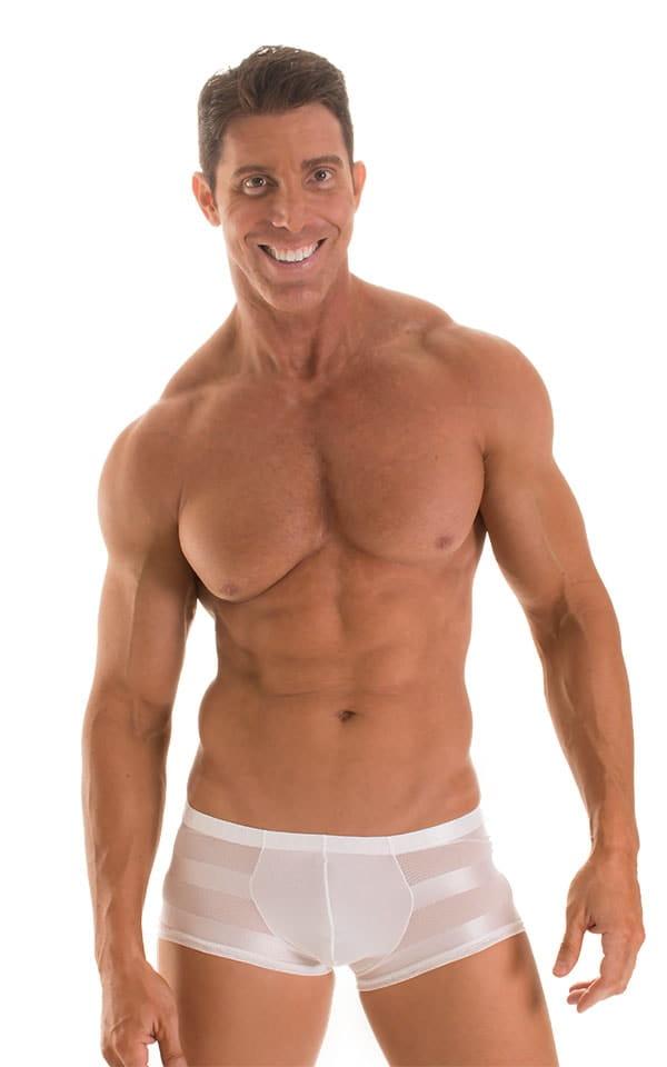 Fitted Pouch - Boxer - Swim Trunks in Super ThinSKINZ White &  White Satin Stripe Mesh 1