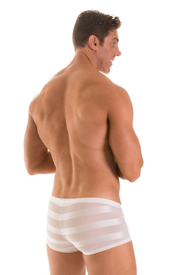 Fitted Pouch - Boxer - Swim Trunks in Super ThinSKINZ White &  White Satin Stripe Mesh 2