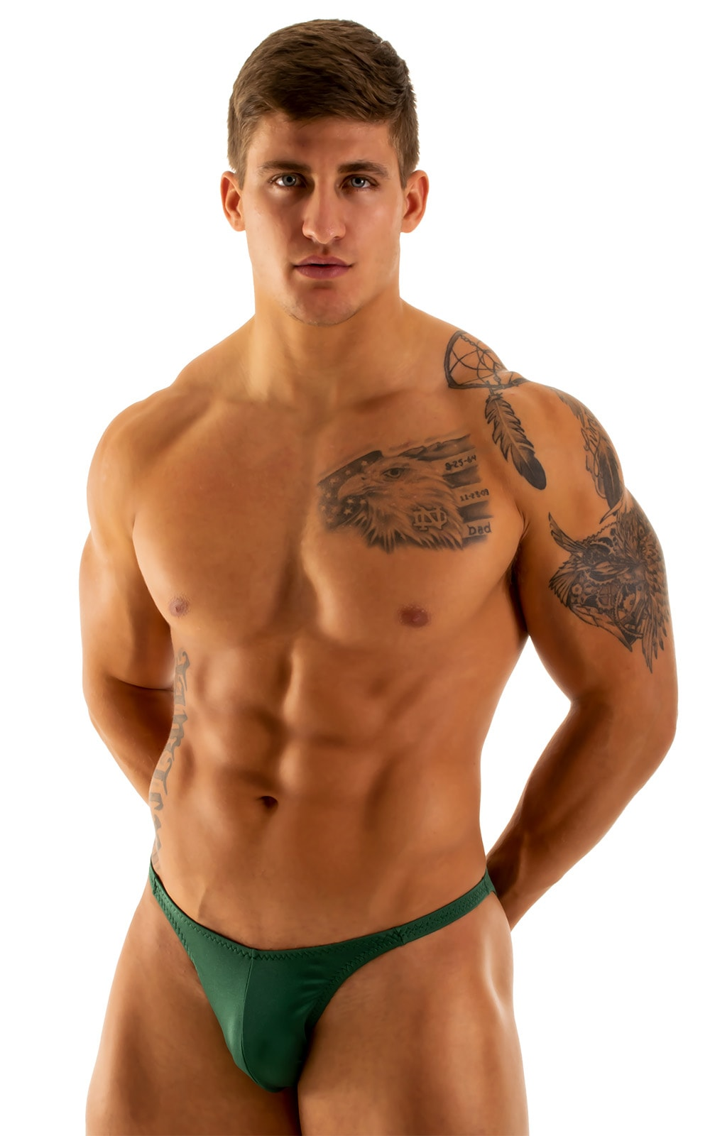 Fitted Pouch - Puckered Back - Posing Suit in Hunter Green 1