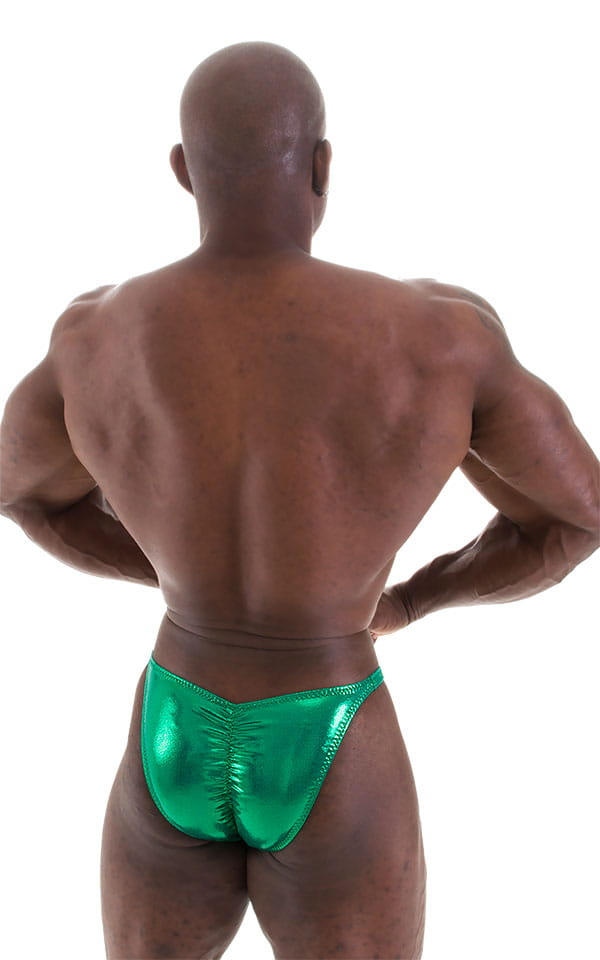 Fitted Pouch - Puckered Back - Posing Suit in Metallic Kelly Green 3
