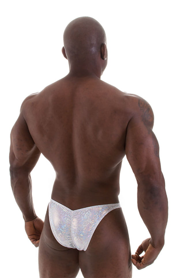 Posing Suit - Fitted Pouch - Puckered Back in Holographic White Silver 3