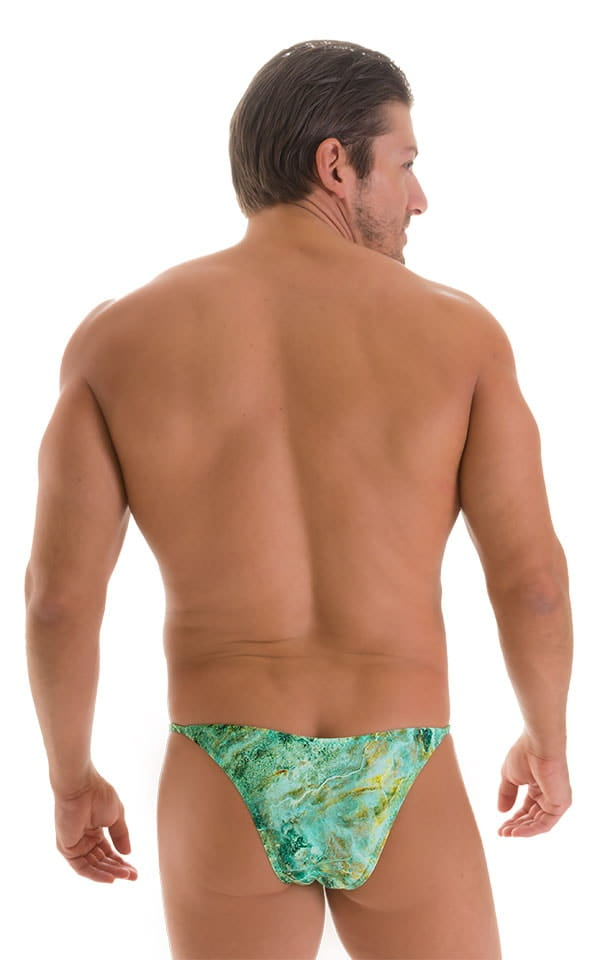 Stuffit Pouch Half Back Tanning Swimsuit in Jade Marble 2