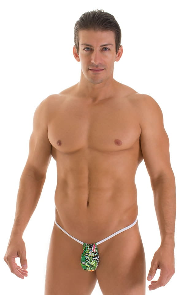 G String Swimsuit - Adjustable Pouch in Super ThinSKINZ Exotic Tropics with White Strings  1