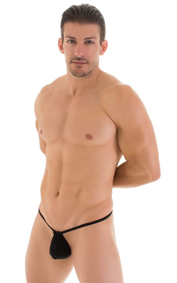 G String Swimsuit - Adjustable Pouch in Super ThinSKINZ Black 8