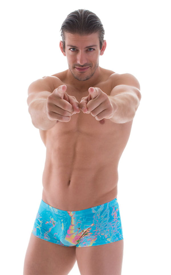Extreme Low Square Cut Swim Trunks in Vapor Wave Teal 5
