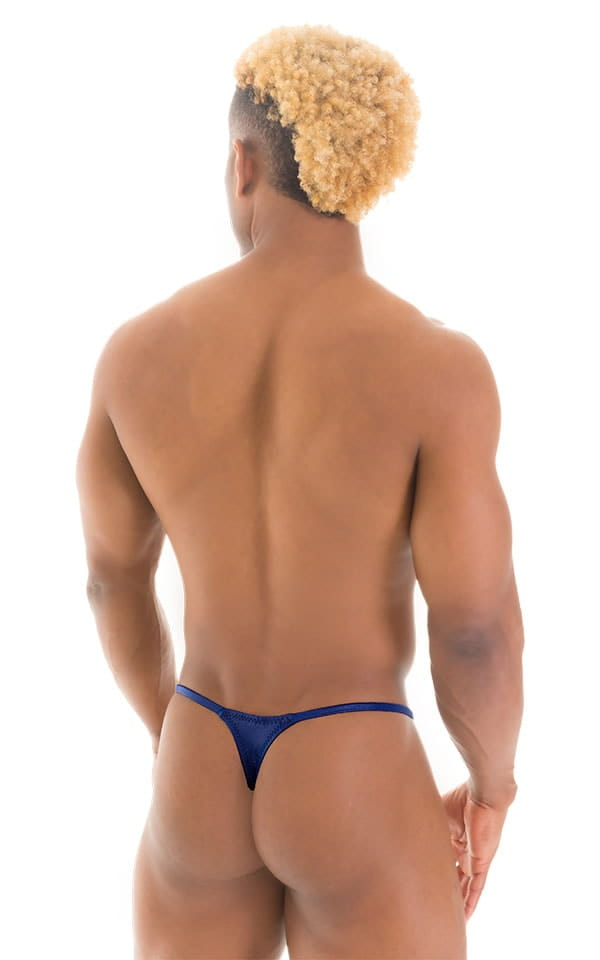 Smooth Pouch Skinny Sides Swim Thong in Wet Look Navy Blue 3