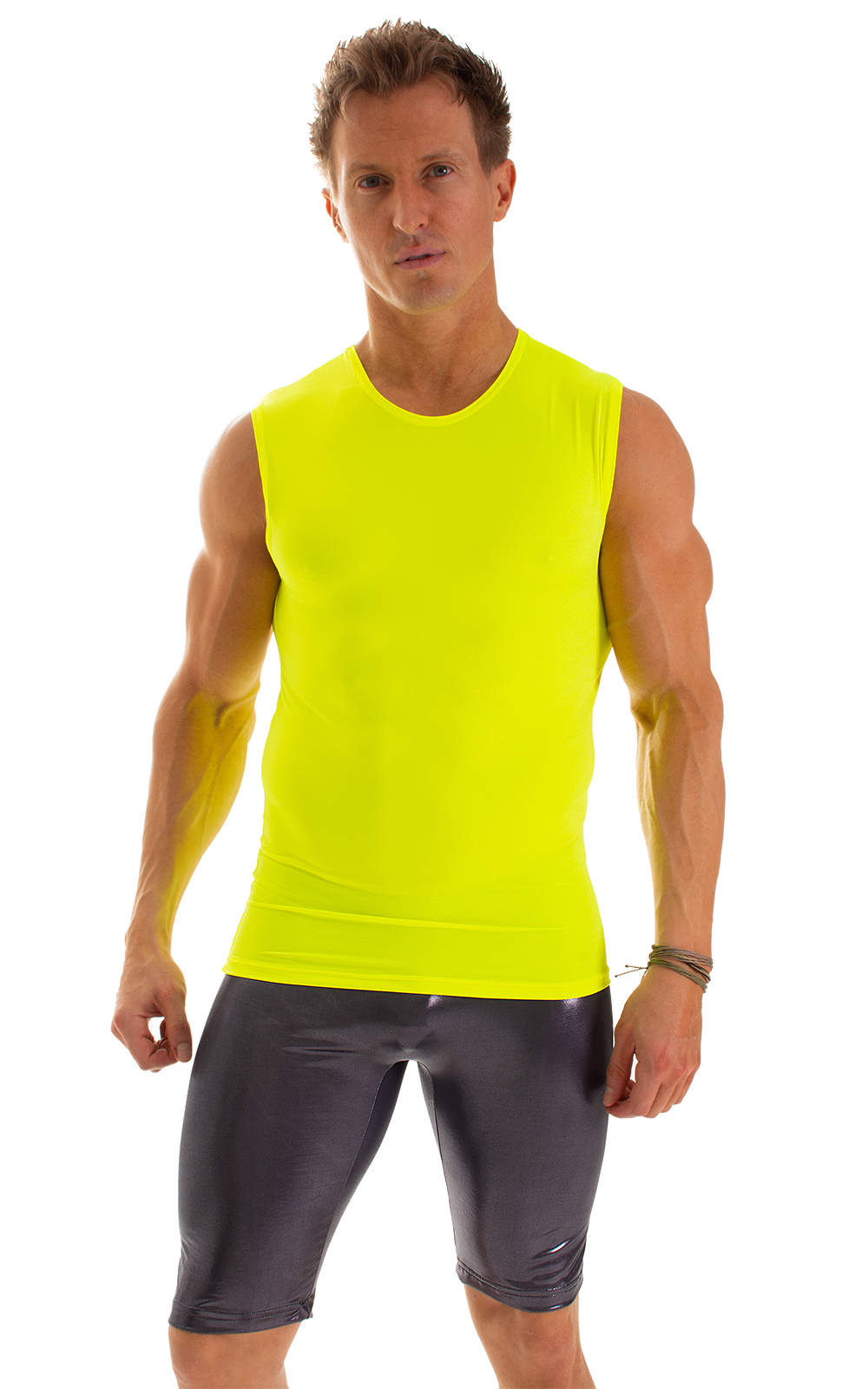 Sleeveless Lycra Muscle Tee in Chartreuse 5