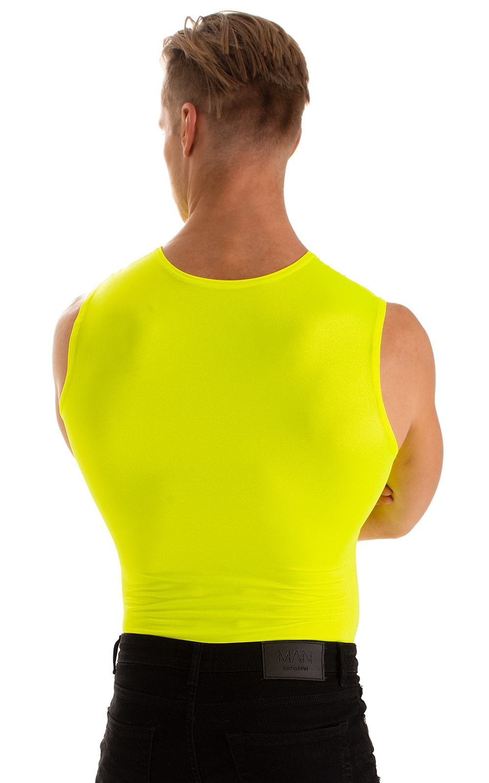 Sleeveless Lycra Muscle Tee in Chartreuse 2