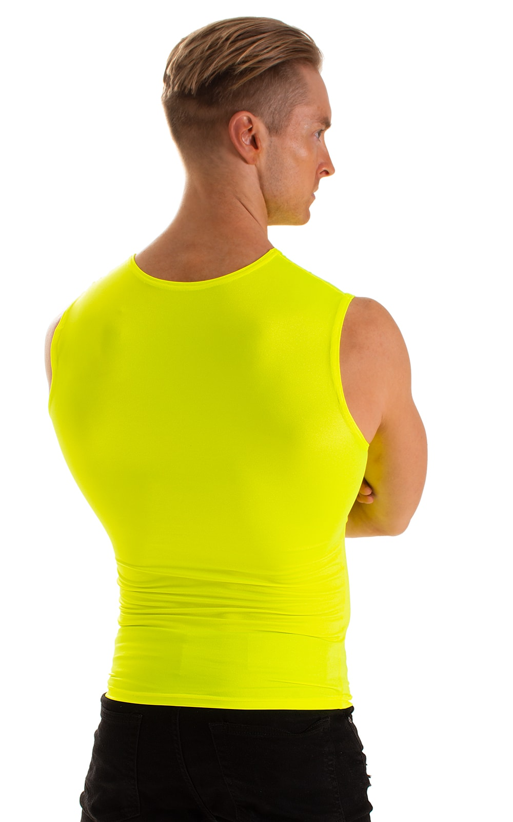 Sleeveless Lycra Muscle Tee in Chartreuse 4
