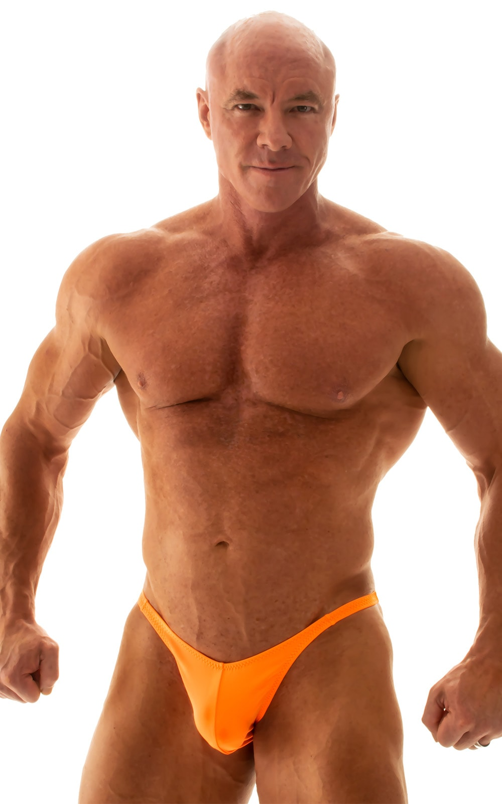 Fitted Pouch - Puckered Back - Posing Suit in Neon Orange 1