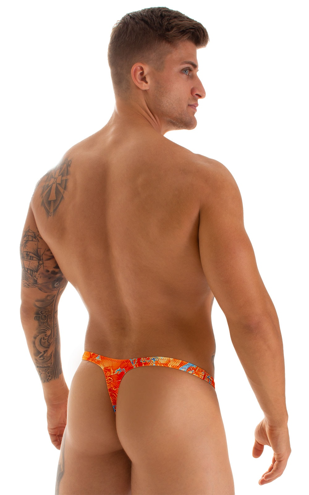 T Back Thong Swimsuit - Bravura Pouch in Vapor Wave Orange 2
