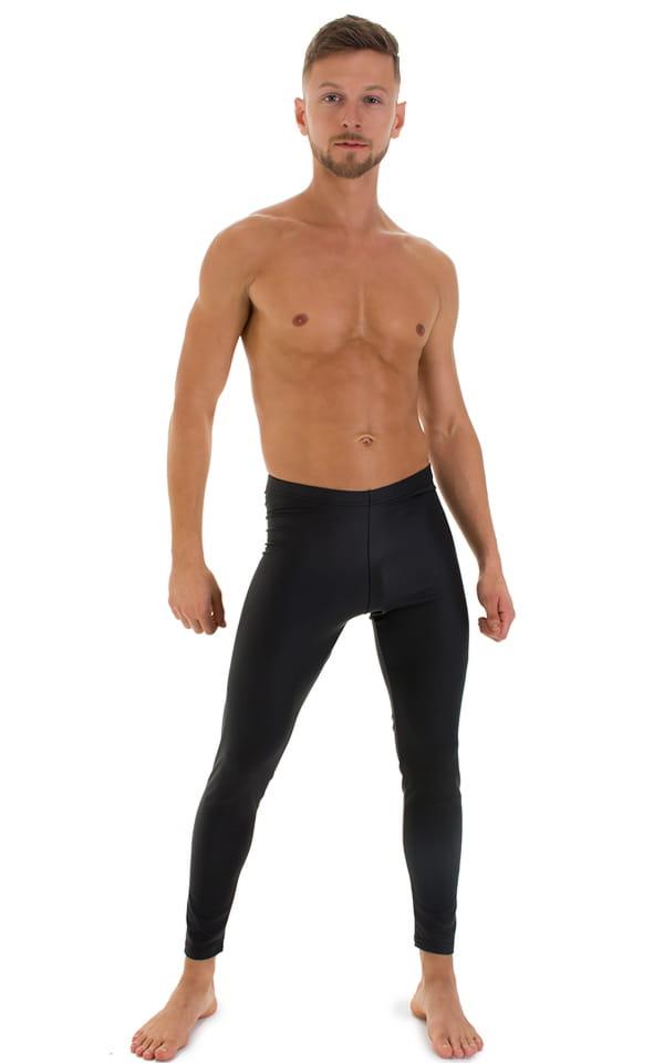 Mens Leggings Tights in Black Neoprene 1