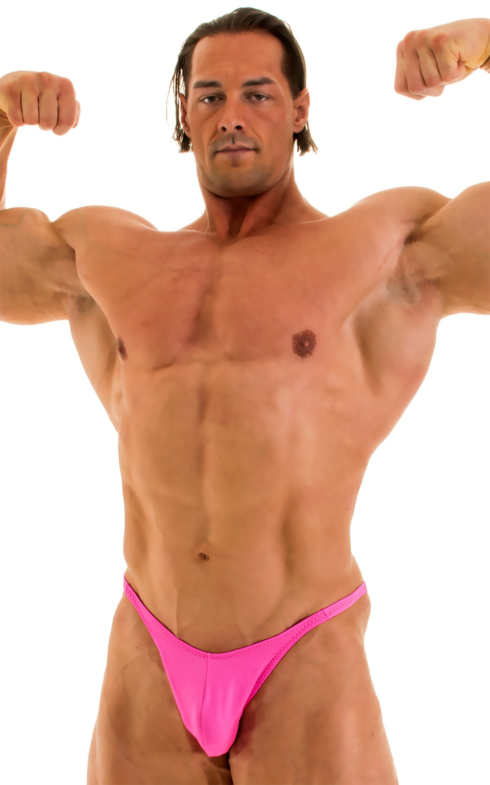 Fitted Pouch - Puckered Back - Posing Suit in Wet Look Hot Pink 5